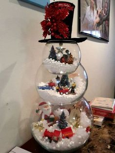 Fish Bowl Snowman Craft for a Christmas decoration! Adorable: