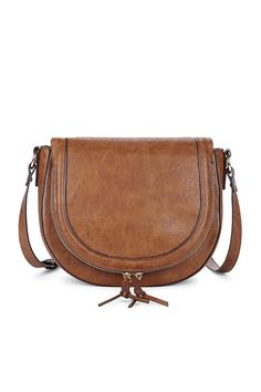 Brown saddle bag with braided zipper details