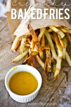 Crunchy Baked Fries- these are so easy to make and much healthier than fried!