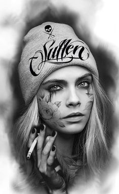 Chicano Art Tattoos, Gangsta Tattoos, Body Art Tattoos, Girl Face Tattoo, Girl Arm Tattoos, Black And White Portraits, Black And Grey Tattoos, Tattoo Sleeve Designs, Sleeve Tattoos