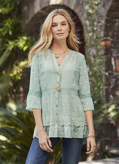 """""""Misty Dreams"""" Tunic - silk georgette tunic with embroidery and inset lace. I love the pale green 