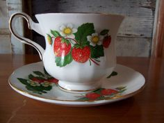 Royal Grafton Teacup and Saucer Strawberry pattern