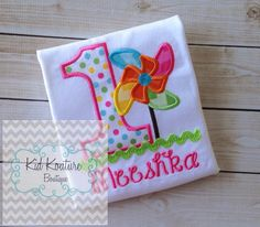 Pinwheel Birthday shirt by KoutureKid on Etsy