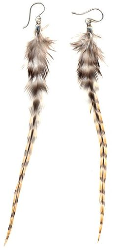 Long rooster feather earrings.