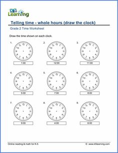 Grade 2 telling time Worksheet on telling time - whole hours (draw the clock)