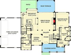 Traditional Style House Plan - 4 Beds Baths 3592 Sq/Ft Plan Floor P. - Traditional Style House Plan – 4 Beds Baths 3592 Sq/Ft Plan Floor P… – Traditio - Split Level House Plans, Square House Plans, Metal House Plans, Open House Plans, Craftsman Style House Plans, House Floor Plans, House Plans South Africa, Heating And Plumbing, Double Entry Doors