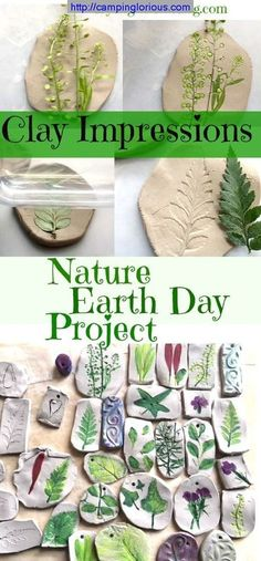 Craft - Perfect for Earth Day Activity - Clay Imprints with Plants and Flowers - My Bright Ideas Nature Craft for Earth Day Projects, Beautiful and Easy Kids Craft. Nature Craft for Earth Day Projects, Beautiful and Easy Kids Craft. Easy Crafts For Kids, Summer Crafts, Diy For Kids, Fun Crafts, Creative Crafts, Camping Activities For Kids, Children Activities, Adult Crafts, Crafts For Camp