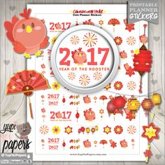 Chinese New Year Stickers, Planner Stickers, Chinese New Year of the Rooster, Printable Planner Stickers, Chinese New Year, Rooster Stickers