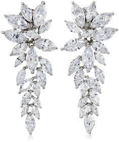 Charles Winston, S Silver, Cubic Zirconia Elegant Drop Earrings, 23.60 ct. tw. Made in China.