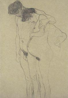 Gustav Klimt  Schwangere mit Mann nach links (Pregnant Woman with Man) about 1903 - 1904