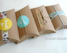 Kraft Gift Boxes Kraft Pillow Boxes Packaging Box 3 x 3.5 x 1 in- Set of 12 Blank Wedding Boxes for Favors