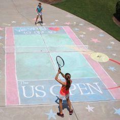 Unbelievable Driveway tennis court. (chalk & pastels~ I believe)
