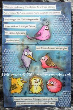 Mixed Media, Tim Holtz's Bird Crazy Stamps. Art Journal Display.