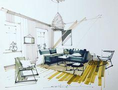 이미지: 테이블, 실내 Drawing Interior, Interior Design Sketches, Sketch Design, Architecture Images, Interior Architecture, Architecture Drawing Sketchbooks, Architecture Sketches, Architecture Presentation Board, Apartment Projects