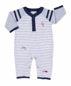 Kissy Kissy Baby Boys Gray Striped / Navy Blue Game Day Football Jersey Playsuit