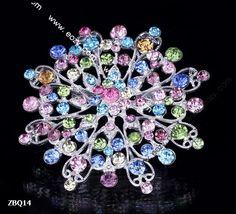 6.5x6.5cm Colorful Shining Fancy Flower Jewelry Beauty Crystal Rhinestone Pin Brooch