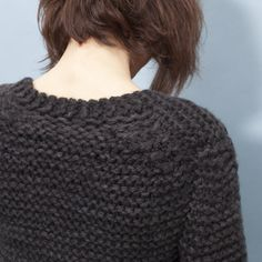 hand knitted anthracite chunky pullover