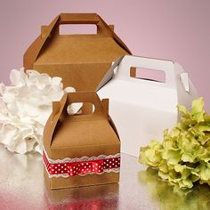$25 for 100 --- small boxes Kraft & White Gable Gift Boxes