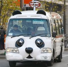 The free panda bus named 'Ning Ning' runs in the Asakusa Temple district in Tokyo connecting the Asakusa Hanayashiki amusement park to the water bus stop by the Azumabashi Bridge on the Sumida River.