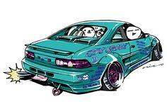 """CRAZY CAR ART """"SW20 MR2"""" original cartoon """"mame mame rock"""" / © ozizo + Official web shop """"STAY CRAZY (in Society6)"""" https://society6.com/mame_ozizo + Official web shop """"ozizo(in Redbubble)"""" http://www.redbubble.com/people/ozizo + """"Crazy Car Art"""" Line..."""