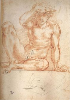 Pontormo (Jacopo Carucci), 1494-1557, Italian, Preparatory drawing for the frescoes of the Villa Medici bezel of Poggio a Caiano. Drawing. Mannerism.