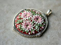 Lovely Floral Clay Applique Pendant in Pink by charancreations
