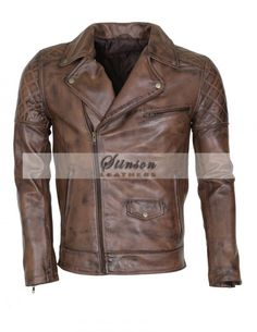 Brando Styled Mens Biker Leather Jacket