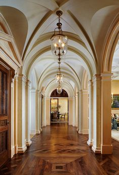 Plaster groin vaults and a burl walnut parquetry floor in a classical gallery Architecture Details, Interior Architecture, Classic Architecture, Parquetry Floor, Wood Floor Design, Curved Wood, Georgian Homes, Entry Hall, Interior Photography