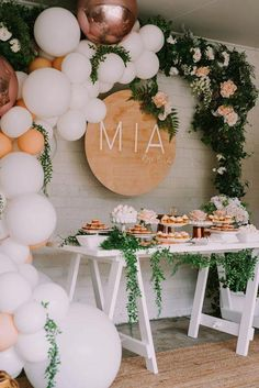 Mia's Rose Gold Garden Party HOORAY! Mag Balloon Garland Floroal Installation Floral Garland Foil Balloon Pastel Balloons Smash Cake First Birthday Party Dessert Table Wood Board Signage Birthday Party Desserts, First Birthday Parties, First Birthdays, Cake Birthday, Birthday Diy, Baby Girl Birthday, 14 Birthday Party Ideas, Outdoor Birthday, Birthday Backdrop