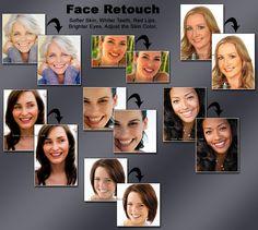 Face retouch: softer skin, whiter teeth, red lips, lighter eyes, good skin color