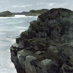 'Ponies on a Sea Cliff' (1990-06) by Welsh artist Kyffin Williams (1918-2006). Oil on canvas, 76.1 x 76 cm. via BBC