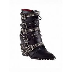 BIANCA Studded Spiked Biker Ankle Boots