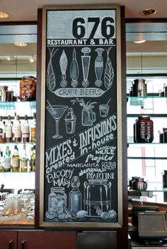This is the center bar board, which promotes their craft beers and chef-inspired mixed drinks.