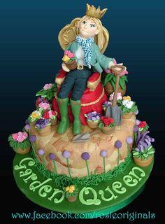 Garden Queen Cake by RosieCakeDiva Queen Cakes, Garden Cakes, Fondant Toppers, Edible Art, Cute Food, Let Them Eat Cake, Cake Designs, Amazing Cakes, Tea Party