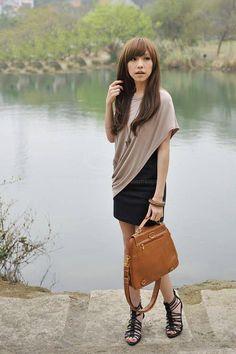 Cheap Wholesale Fashion Asymmetric Drape Blouse + Black Mini Dress Casual Twinset For Women (AS THE PICTURE,ONE SIZE) At Price 8.58 - Dresslily.com