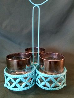 Vintage Condiment Caddie, Condiment Caddie,turquoise, Retro Condiment Caddy,Refurbished Kitchen Decor,Kitchen Decor,Midcentury,Silver Tipped by Vintagepetalpushers on Etsy
