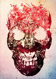 Floral Skull Art Print by Ali Gulec — iCanvas Totenkopf Tattoos, Neue Tattoos, Geniale Tattoos, Floral Skull, Art Floral, Floral Design, Modern Artwork, Beautiful Artwork, Beautiful Boys