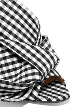 No. 21 - Knotted Gingham Twill And Leather Sandals - Black - IT37.5