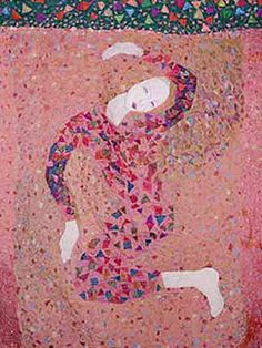 Harlequin Madonna, 1986 Alice Kettle Stitched silk, metal and cotton thread. Hand Embroidery Art, Machine Embroidery, Blue Stockings, Stitch Witchery, Martin Parr, Gcse Art, Human Condition, Fabric Manipulation, Textile Artists