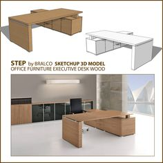 free sketchup 3d model  office executive desk step _cover Table Furniture, Office Furniture, Furniture Design, Office Table, Home Office, Sketchup Free, Lateral File, Modelos 3d, Executive Office