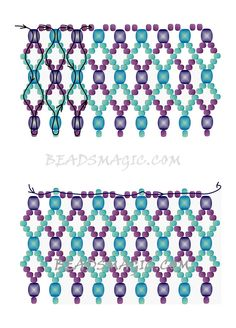 "FREE pattern for necklace ELAINE | Beads Magic#more-9595. Use: seed beads 11/0 (2 colors), 4 mm beads ( 2 colors). This is the ""Adriatic"" pattern tweaked by Elaine C Vechorik. Page 2 of 2"