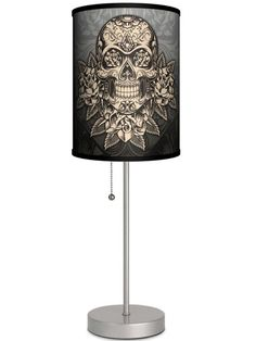 Silver Lamp With Gold Skull Shade By Lamp in A Box