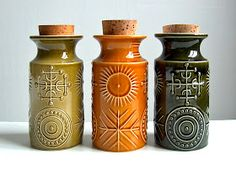 Magickal Ritual Sacred Tools: Vintage potion or storage bottles. The Portmeirion Totem range was designed by Susan Williams-Ellis; the bottles were first produced in the Ceramic Pottery, Ceramic Art, Slab Pottery, Ceramic Bowls, Pottery Shop, Pottery Studio, Paint Your Own Pottery, Vintage Storage, Thrown Pottery
