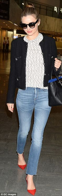 Designer duds: The 30-year-old wore a Chanel jacket which matched her Samantha Thavasa handbag
