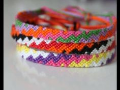 como hacer una pulsera de zig zag arcoiriz tutorial macrame how to make ...