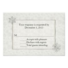 Winter White and Silver Snowflake Wedding RSVP Invite