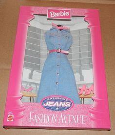 Fashion Avenue Barbie Authentic Jeans Dress Mattel1997 NIB 19179 75M #Mattel