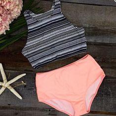 Stripe Print High Waist Beach Bikini Set Swimsuit Swimwear - L(US size) Bathing Suits For Teens, Summer Bathing Suits, Cute Bathing Suits, Classy Outfits, Cute Outfits, Beach Outfits, Lingerie Fine, Vetement Fashion, Cute Swimsuits