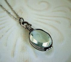 Silver Necklace Glass Locket, Wedding, Medium Oval, Steam Punk, Rustic, Long Chain - Crystal Clear