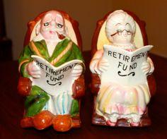 Vintage Lefton Ceramic Retirement Fund Banks Grandma Grandpa Gag Gift for Retiree -- midcentury kitsch from the 1960s! by poetsy, $22.00